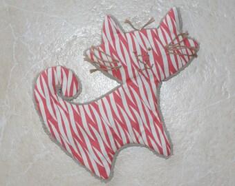 plush velvet embroidered tabby cat