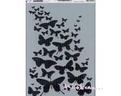 """Pochoir XL """"Envolée de papillons"""" Crabelle Studio stencil, mask décoration scrapbooking (réf.210)*"""
