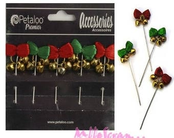 Set of 5 decorative pins Petaloo special Christmas scrapbooking embellishment *.