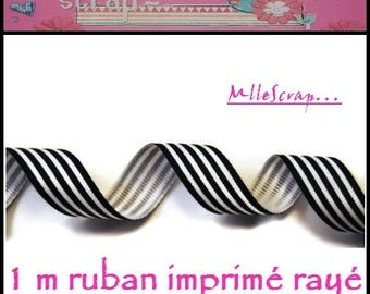 1 m scrapbooking embellishment black and white striped grosgrain Ribbon