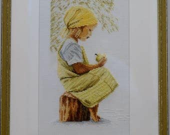 Embroidery picture girl with Apple