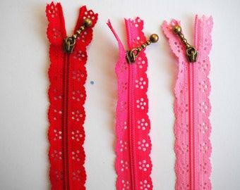 1 x lace zipper 25cm, pink zipper