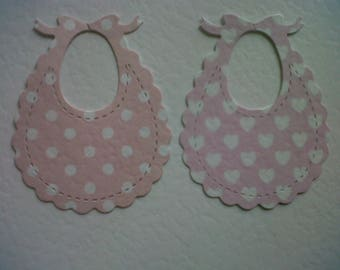 Baby bibs, pink hearts and pink dots. Pack of 10