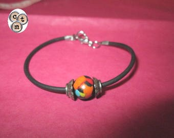 Polymer clay multicolor on wire black Bead Bracelet