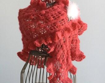Mohair/silk yarn flame tip/shawl