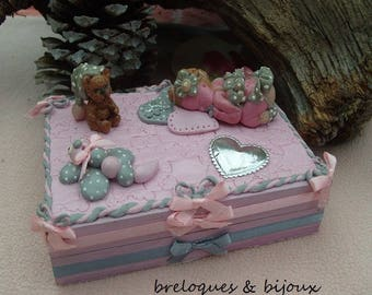 MODELING DECO GIRLY box jewelry decorative girly pattern baby girl outfit with his teddy bear gise handmade handcrafted