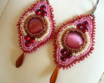embroidered earrings, beading, pink and red tones