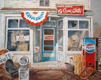 OIl Painting General Store Old Stuff