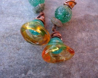 Spring earrings with Bell glass - green, orange, copper