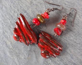 "Rustic ""pyramids"" tribal ethnic earrings - ceramics, gemstone - red orange"