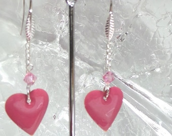 My heart earrings is a sweet, ceramic and Crystal