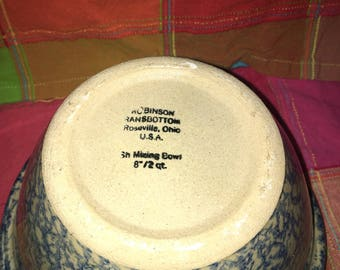 Roseville Blue Mixing Bowl Robinson Ransbottom