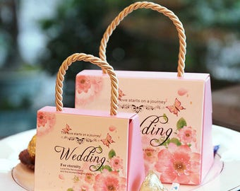 50pcs,100pcs Wedding Favor Chocolate Boxes  Mini Suitcase Candy Box Sweet Bags for Wedding Favors and Gifts Decoration  Candy Box- Treat bag