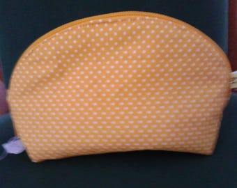 Yellow cotton make-up bag pouch