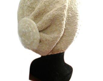 Hat hand knitted women wool