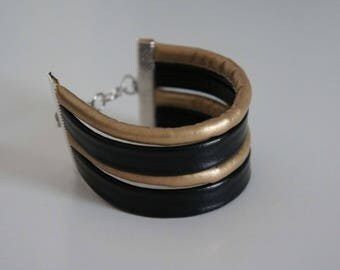 Bracelet leather black and gold - Golden Gate