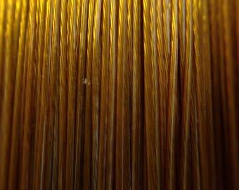 19 / cable gold metal thread metallic yellow reel 50 m lot 0.38 mm