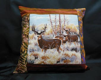 "Collection ""Indian summer"", square Cushion cover 1 deer and her DOE their Fawn (C303)"