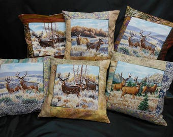 "Set of 6 square cushion covers, collection ""Indian summer"" stag and DOE"