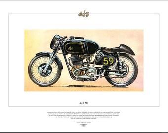 AJS MODEL 7R - Motor Cycle Fine Art Print - 350 Single