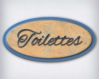 Door sign decal toilet leather and denim 053