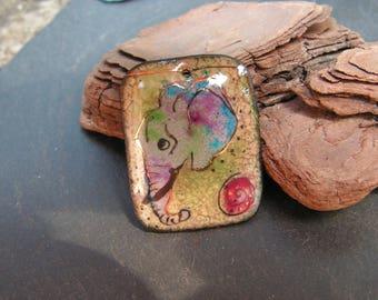 copper charm enamelled (hot) large elephant necklace pendant
