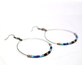 Hoop earrings light blue and Golden