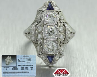 1930s Antique Art Deco 18k White Gold 3 Stone 2.10ctw Diamond and Sapphire Ring