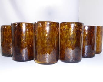 Mexican Hand Blown Tumblers  Tortoise Shell Brown Recycled Glasses – Set of 6 (Free Shipping)