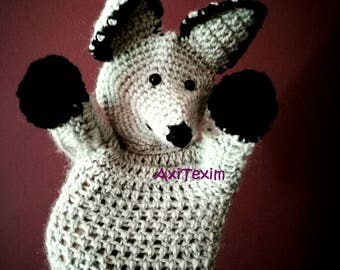Crocheted Wolf hand puppet