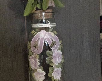 solifflore bottle hand painted with pink