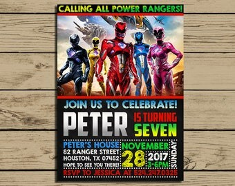 Power Rangers Invitation * Power Rangers Birthday Invite * Power Rangers Birthday Party Chalkboard Invitations * Personalized * YOU PRINT