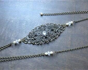 "Headband wedding bronze ""Sarah-2"" with swarovski pearls"
