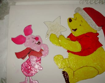Part of a teddy bear and his friend the little pig on canvas