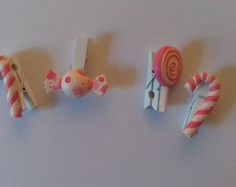 Set of 4 clips linens candy pink