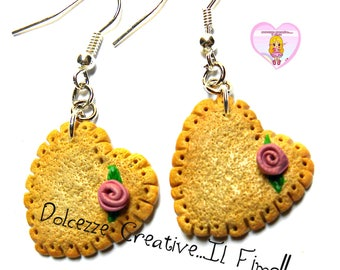 Earrings biscuit heart shaped with purple roses - handmade Kawaii jewelry