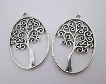 2 pendentif arbre de vie en métal argenté 40 x 27 mm