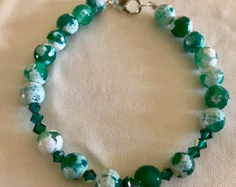 African turquoise and a green rondelle beaded bracelet women and girls