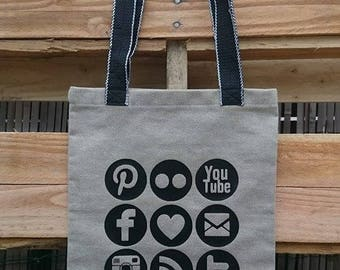 Tote bag hand made canvas cotton and linen thick internet picto pattern