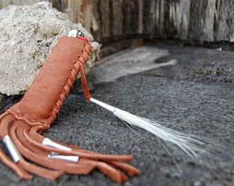 Brown Fringe Elkhide Lighter Case with Horsehair