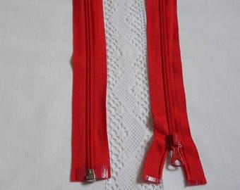 Separable 95 cm red zipper