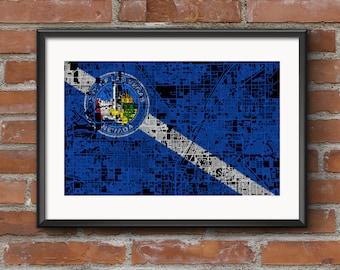 Las Vegas Map Art Print –Flag // Las Vegas Poster | Las Vegas Art | Las Vegas Print // Free Shipping