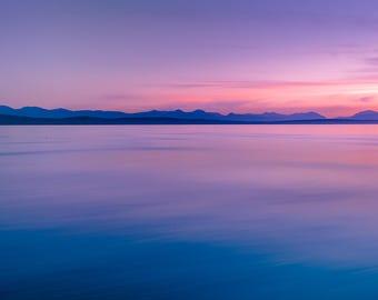 Sunset Photography, Sunset Print, Art Print, British Columbia, Purple, Blue, Pink