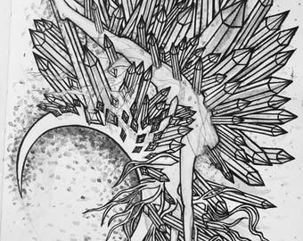 Blood Moon (2017) - black and white art print