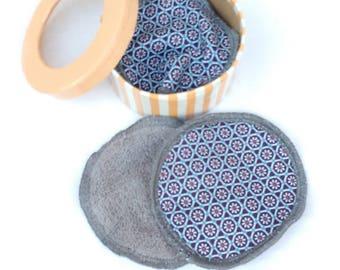 Set of 8 wipes, reusable cotton
