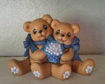 "Handpainted Ceramic Bisque Bears With Blue Bows Holding Basket of Flowers Approximately 4.5"" x 6.5"""