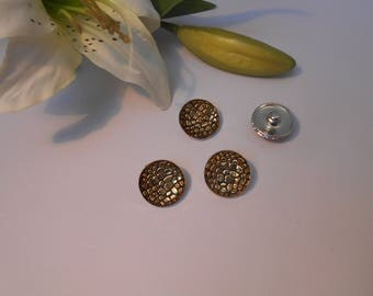 Sparkly button pressure 18mm for jewelry - gold