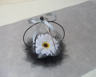 Decoration table - black and white and silver - black and silver caged germini