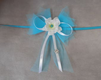 Bench - white and turquoise piece with artificial Larkspur