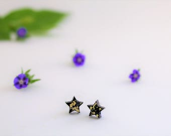 I love you more than all the stars Black resin and Sterling Silver Stud Earrings